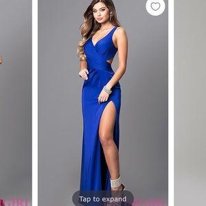 Blue Satin prom dress size 6